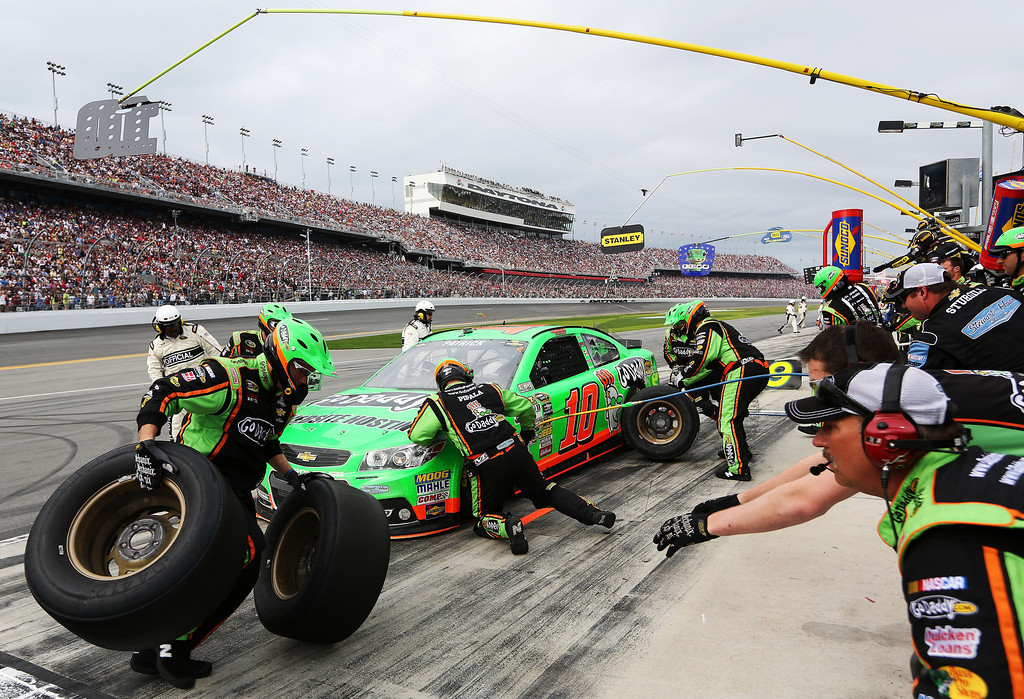 . Danica Patrick, driver of the #10 GoDaddy.com Chevrolet, pits during the NASCAR Sprint Cup Series Daytona 500 at Daytona International Speedway on February 24, 2013 in Daytona Beach, Florida.  (Photo by Jerry Markland/Getty Images)