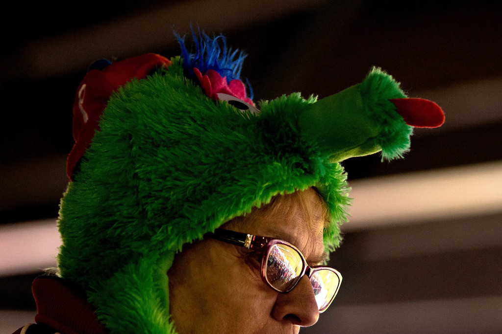 . Philadelphia Phillies fan Lynne Bryson from Philadelphia wears a Philly Phanatic hat as she supports her team during a game against the Colorado Rockies at Coors Field on April 19, 2014 in Denver, Colorado.  (Photo by Justin Edmonds/Getty Images)