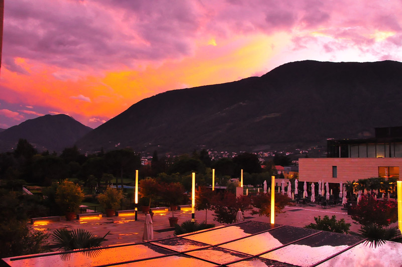 Merano sunset from our Hotel Terme Merano