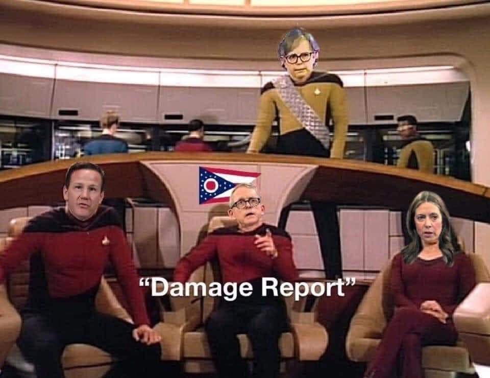 Governor DeWine as Picard with Jon Husted and Dr. Amy Acton and Marla Berkowitz