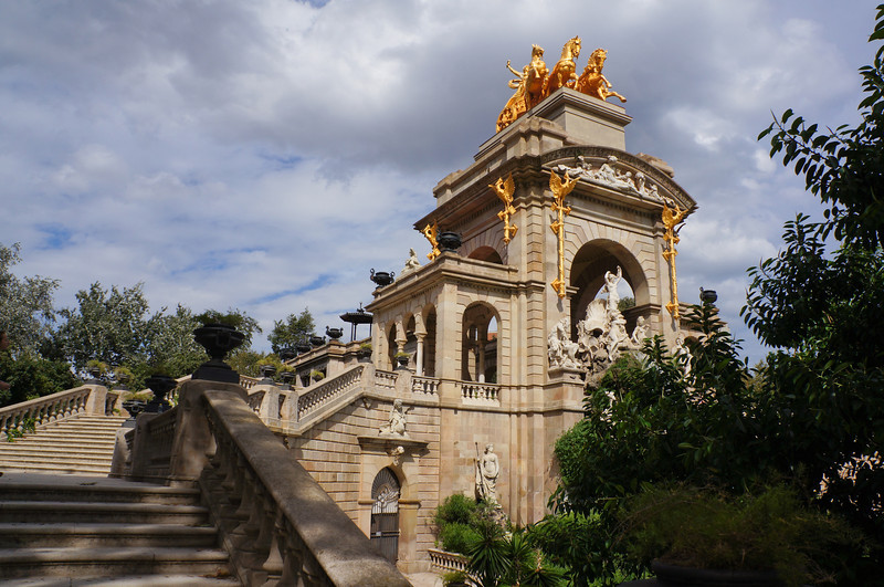 A huge structure called the Cascada sits atop the fountain in Parc de la Ciutadella.