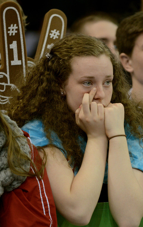 . Duncan Scott/DScott@News-Herald.com VASJ junior Toni Beuck crosses her fingers as she watches the closing seconds of VASJ\'s  loss to Lima Central Catholic 64-62 in the Division III state championship game on March 22 in the Value City Arena in the  Schottenstein Center in Columbus.
