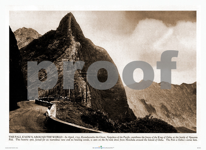 """019: The Pali - Vintage sepia-toned magazine photograph of the famous Pali (cliff) on Oahu, Hawaii. Ca. 1920. Caption reads: """"The Pali, known around the world--In April, 1795, Kamehameha the Great, Napoleon of the Pacific, overthrew the forces of the King of Oahu at the battle of Nuuanu Pali. This historic spot, famed for its marvelous view and howling winds, is seen on the 85-mile drive from Honolulu around the Island of Oahu. The Pali is Oahu's scenic lion."""""""