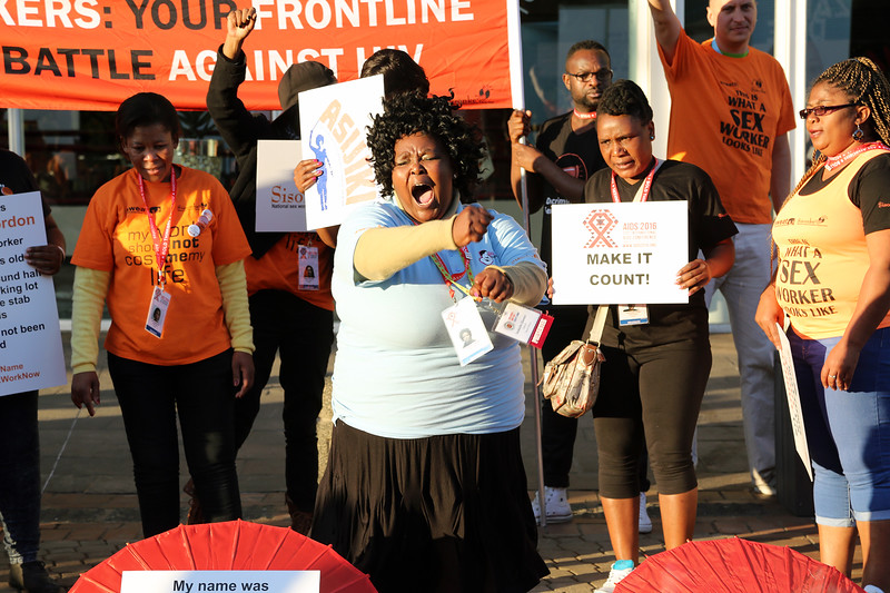 21st International AIDS Conference (AIDS 2016), Durban, South Africa. Monday 18th July 2016, VENUE : DURBAN ICC (Outside the Venue) ACTIVITS FOR SEX WORKERS PROTESTING OUTSIDE THE VENUE OF THE MORNING OF THE CONFERENCE BEFORE IT KICKS OFF Photo©International AIDS Society/Abhi Indrarajan
