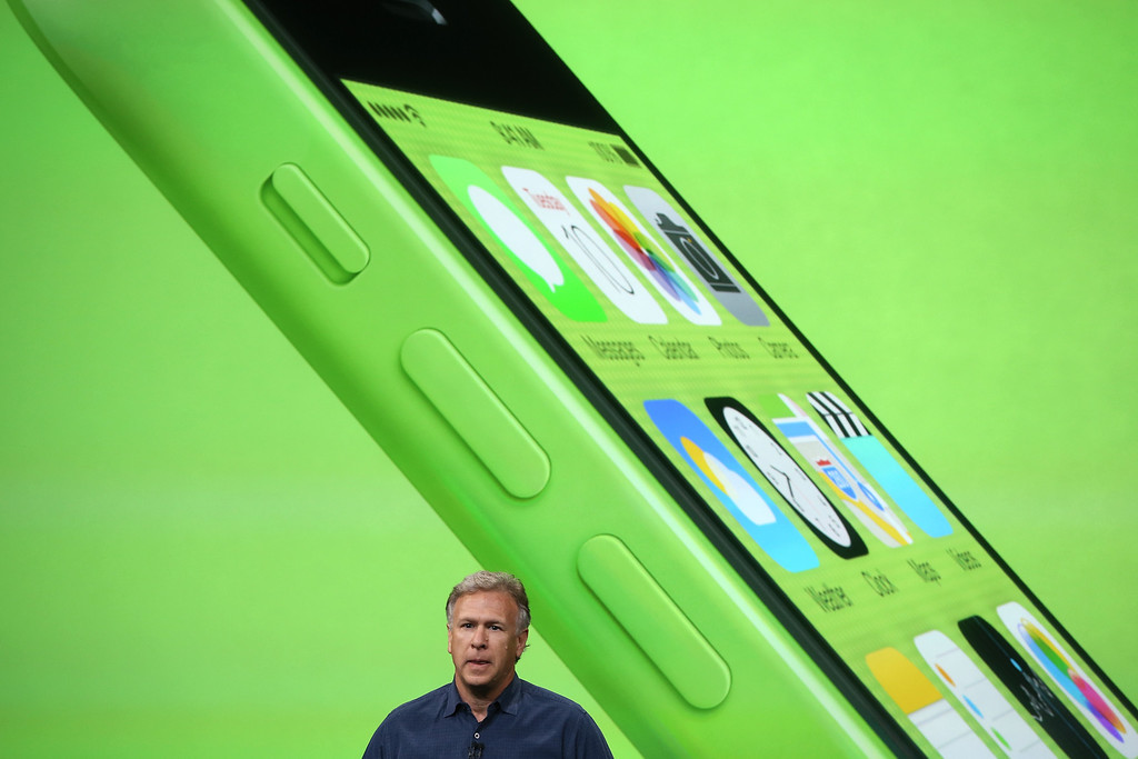 . Apple Senior Vice President of Worldwide Marketing at Phil Schiller speaks about the new iPhone 5C during an Apple product announcement at the Apple campus on September 10, 2013 in Cupertino, California. (Photo by Justin Sullivan/Getty Images)