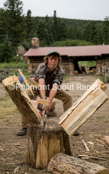 Timothy Loosbrock splits wood at Crater Lake on July 7, 2017.
