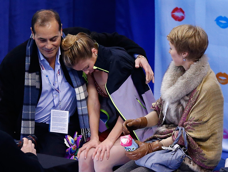 . Ashley Wagner sits in the kiss and cry following her free skate program during the 2014 Prudential U.S. Figure Skating Championships at TD Garden on January 11, 2014 in Boston, Massachusetts.  (Photo by Jared Wickerham/Getty Images)