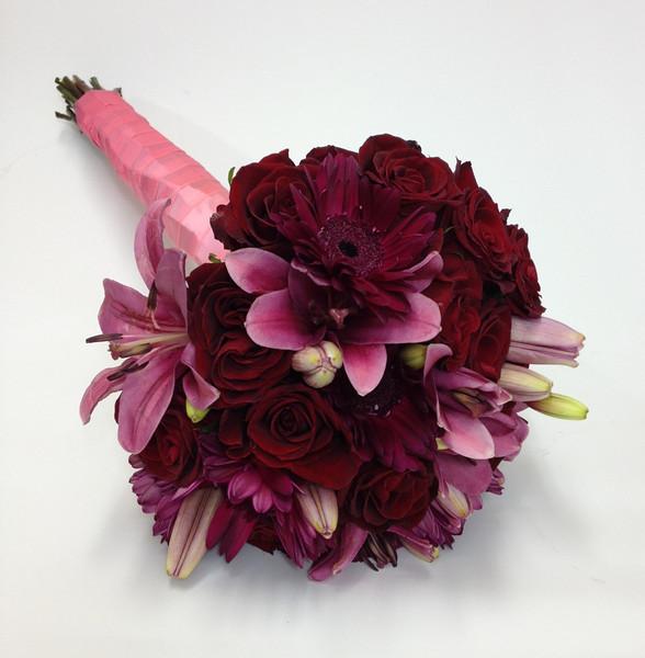 Bouquet - Fuchsia Asiatic Lilies, Burgundy Gerbera Daisy, Dark Red Roses.