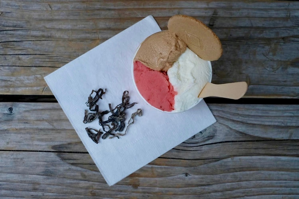 Kinako, strawberry, and milk ice cream at Japanese Ice Ouca, Ebisu.