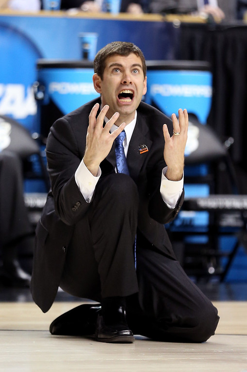 . LEXINGTON, KY - MARCH 23: Head coach Brad Stevens of the Butler Bulldogs reacts after a basket is called off and a foul is called against Marquette Golden Eagles in the second half during the third round of the 2013 NCAA Men\'s Basketball Tournament at Rupp Arena on March 23, 2013 in Lexington, Kentucky.  (Photo by Andy Lyons/Getty Images)
