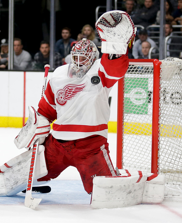 . Detroit Red Wings goalie Jonas Gustavsson makes a save against the Los Angeles Kings during the second period of an NHL hockey game in Los Angeles, Tuesday, Feb. 24, 2015. (AP Photo/Chris Carlson)