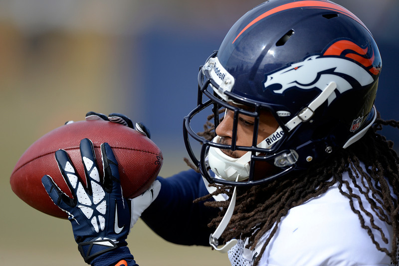 . Denver Broncos cornerback Marquice Cole (34) catches a pass during practice January 15, 2014 at Dove Valley. The Broncos are preparing for their game against the New England Patriots in the AFC championship game. (Photo by John Leyba/The Denver Post)