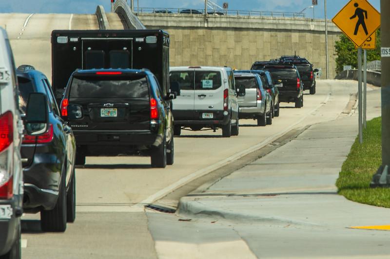 President Donald J. Trump's motorcade leaves Trump International Golf Club to head back to Mar-a-Lago on Sunday, March 31, 2019. [JOSEPH FORZANO/palmbeachpost.com]