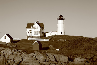 Nubble Light - York Maine - Black and While