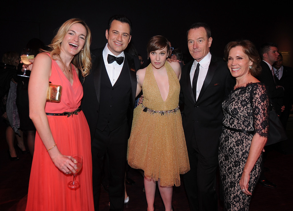 . Gina Kimmel, Jimmy Kimmel, Lena Dunham, Bryan Cranston, and Robin Dearden attend the TIME\'s 100 Most Influential People in the World Gala on Tuesday, April, 23, 2013 in New York City, New York. (Photo by Brad Barket/Invision for The Hollywood Reporter/AP Images)