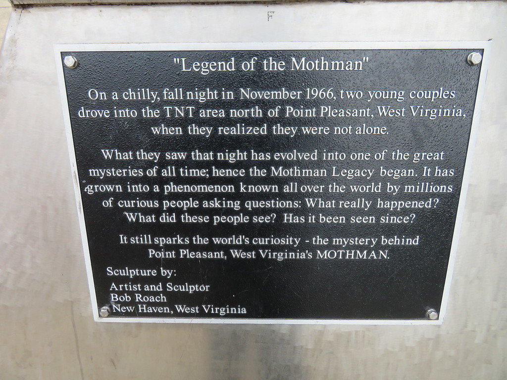 Mothman Statue Plaque - Point Pleasant West Virginia