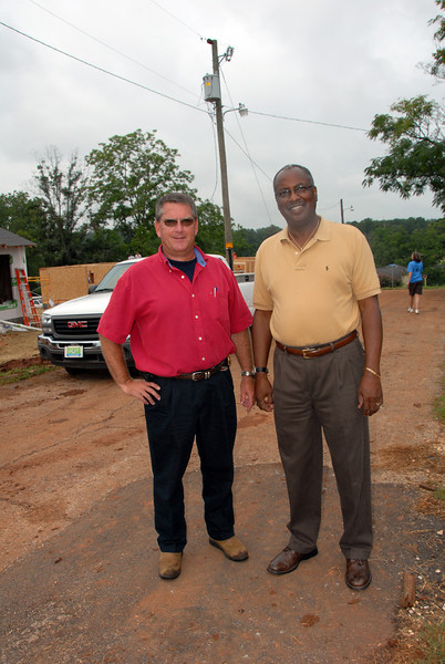 Fire Chief Johnny Smith with Mayor Crawley. Both gentlemen and their colleagues have been tremendous help organizing for the Millard Fuller Legacy Build. cl