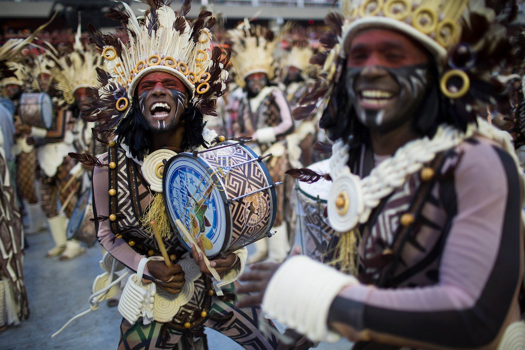 . Performers from the Beija Flor samba school parade during Carnival celebrations at the Sambadrome in Rio de Janeiro, Brazil, Monday, Feb. 27, 2017. (AP Photo/Mauro Pimentel)