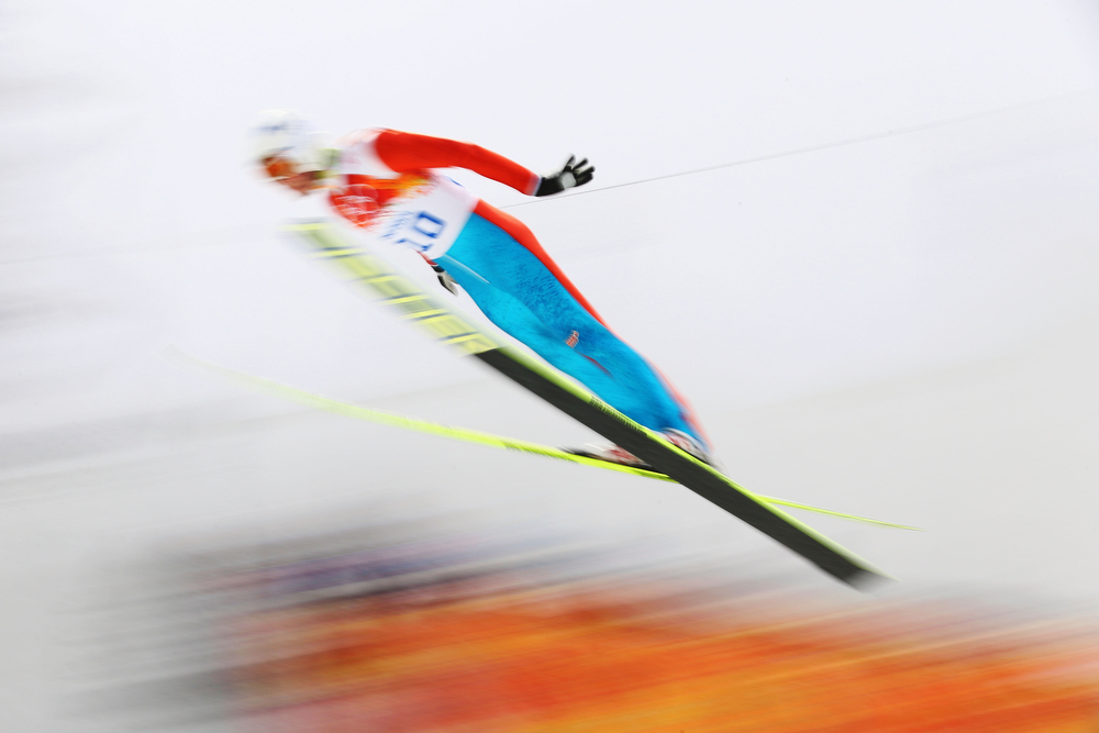 . Finland competes in the Nordic Combined Men\'s Individual LH during day 11 of the Sochi 2014 Winter Olympics at RusSki Gorki Jumping Center on February 18, 2014 in Sochi, Russia.  (Photo by Clive Mason/Getty Images)