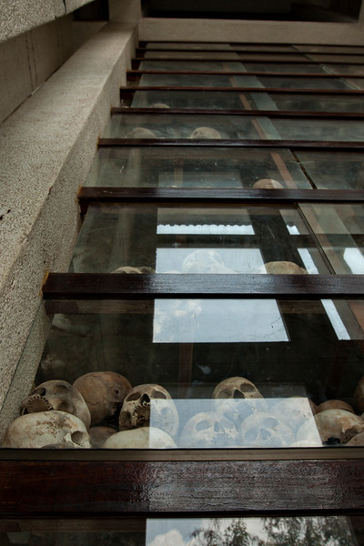 Inside the structure. The bottom level is clothing, and the rest are skulls.