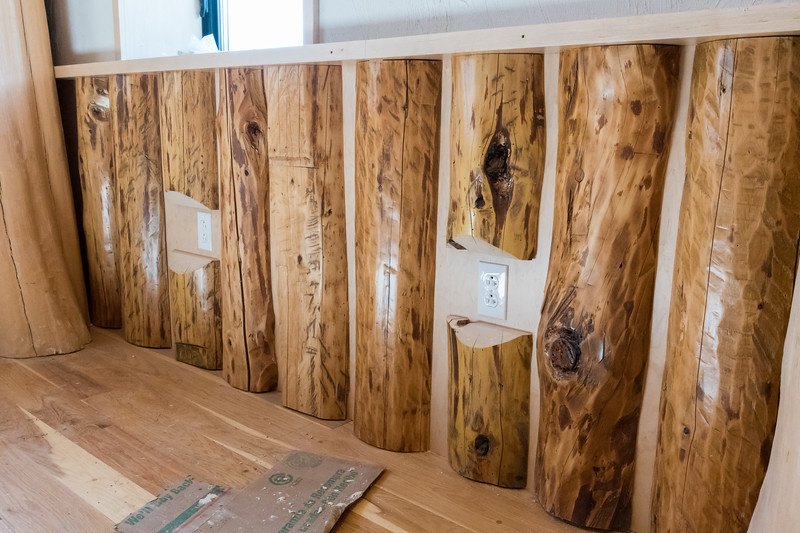 The new Ravine Lodge includes wainscoting made from logs salvaged from the old Ravine Lodge. Photo by David Kotz '86.