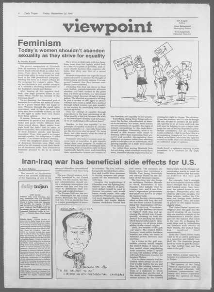 Daily Trojan, Vol. 105, No. 17, September 25, 1987