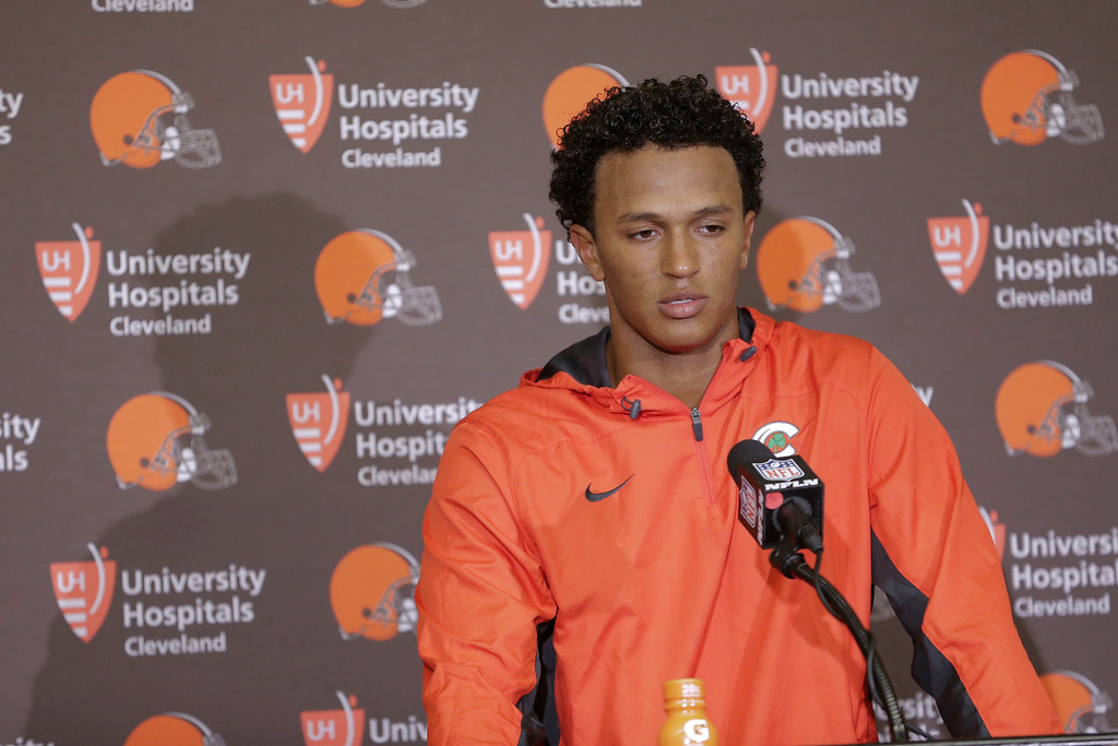 . Cleveland Browns quarterback DeShone Kizer (7) during a press conference following an NFL football game in Indianapolis, Sunday, Sept. 24, 2017. The Colts defeated the Browns 31-28. (AP Photo/AJ Mast)