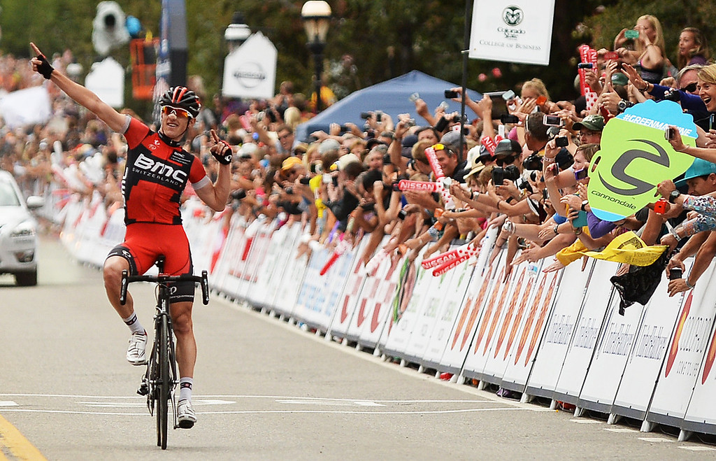 . Mathias Fränk (SUI) of BMC Racing Team celebrates as he crosses the finish line in Breckenridge to win the second stage of the 2013 USA Pro Challenge race.   (Photo By Hyoung Chang/The Denver Post)