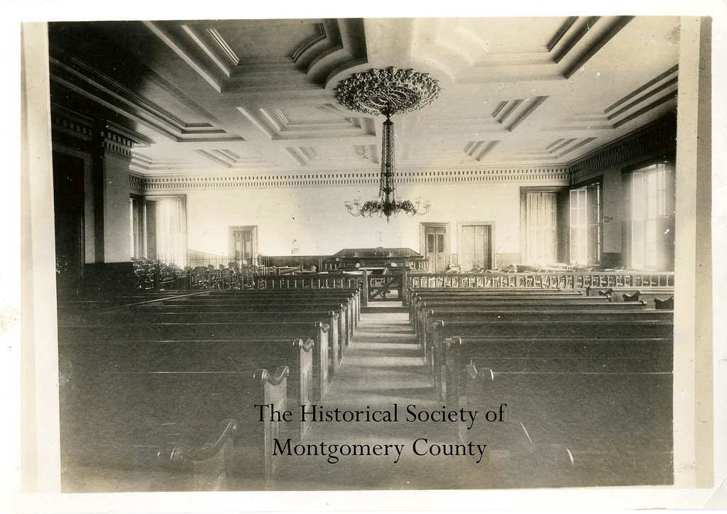 . This photo from the Historical Society of Montgomery County shows an interior view of the Montgomery County Courthouse during the 19th century.