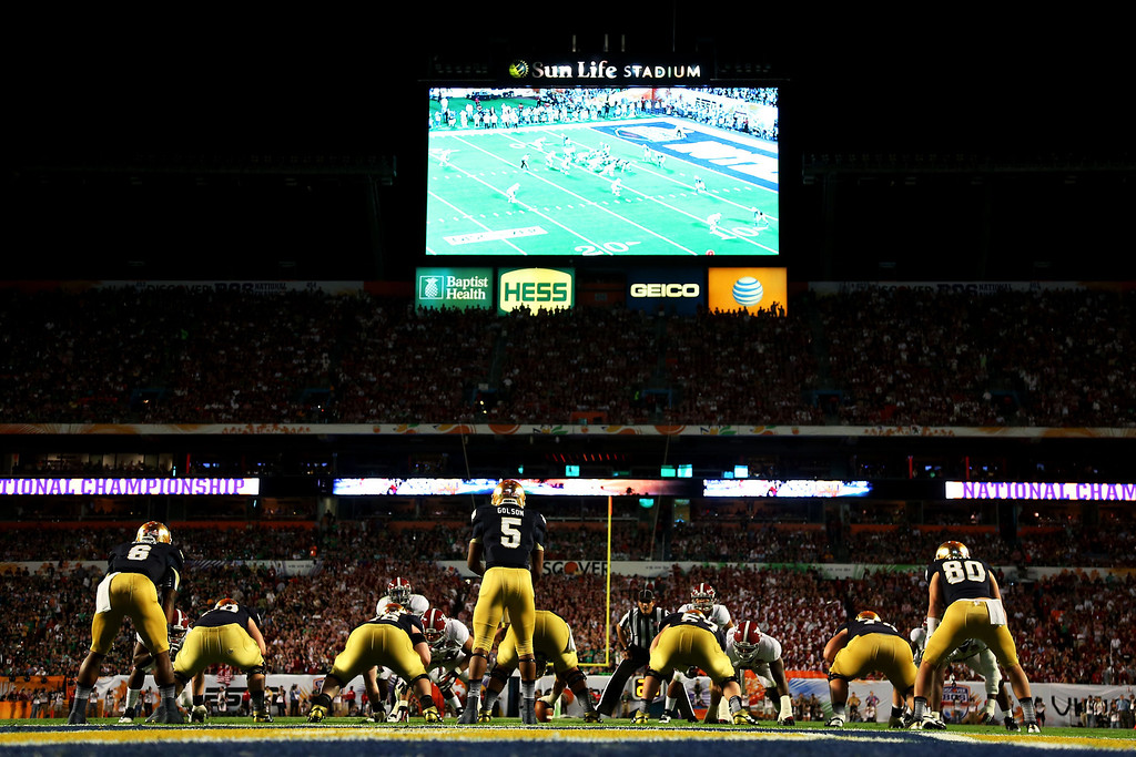 . MIAMI GARDENS, FL - JANUARY 07:  Everett Golson #5 of the Notre Dame Fighting Irish sits undering center against the Alabama Crimson Tide during the 2013 Discover BCS National Championship game at Sun Life Stadium on January 7, 2013 in Miami Gardens, Florida.  (Photo by Mike Ehrmann/Getty Images)