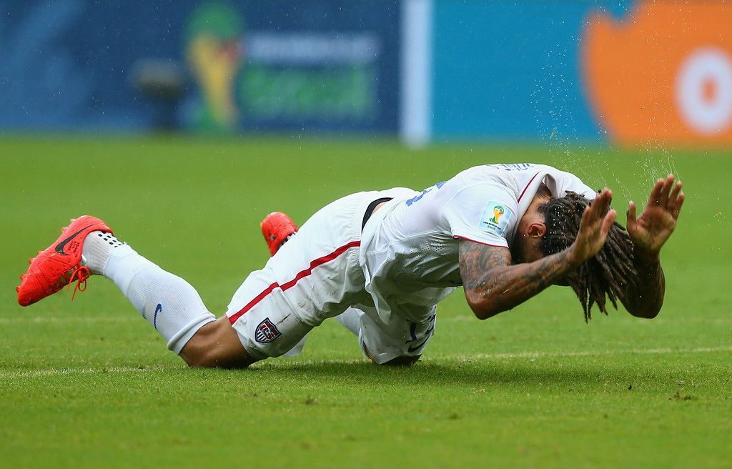 . Jermaine Jones of the United States reacts during the 2014 FIFA World Cup Brazil group G match between the United States and Germany at Arena Pernambuco on June 26, 2014 in Recife, Brazil.  (Photo by Martin Rose/Getty Images)