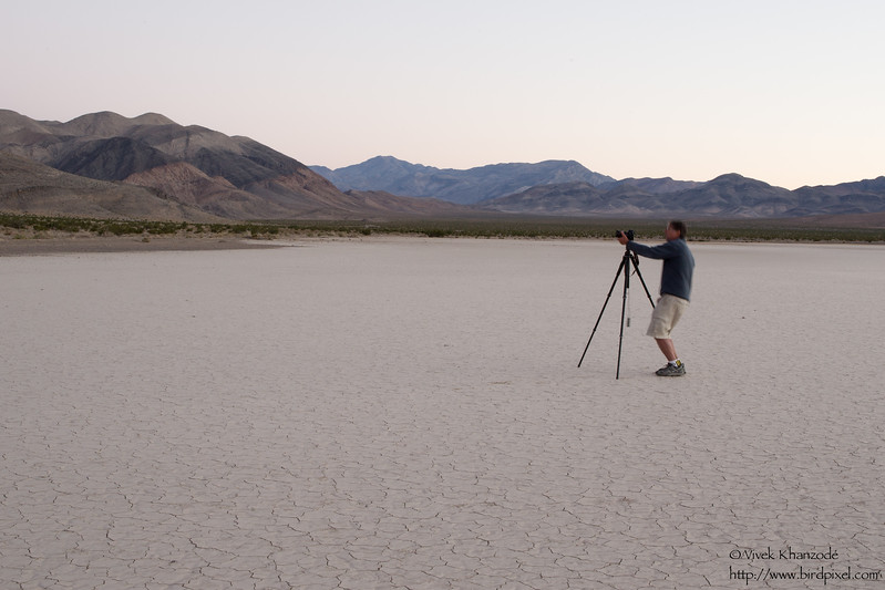 Larry photographing at the Racetrack Playa - Death Valley National Park, CA, USA