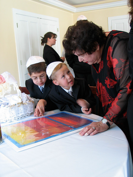 Examining Ketubah -- Wedding of Heather Libman and Stuart Kafetz