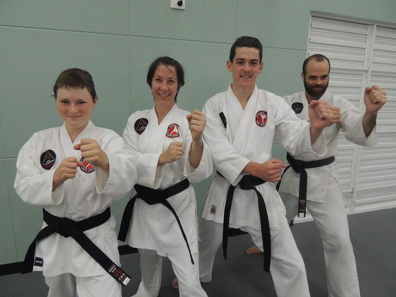 From left: New Combat Karate Black Belts Jack Bowen, Loren Anderson, Daniel Cooney & Marco Nadal