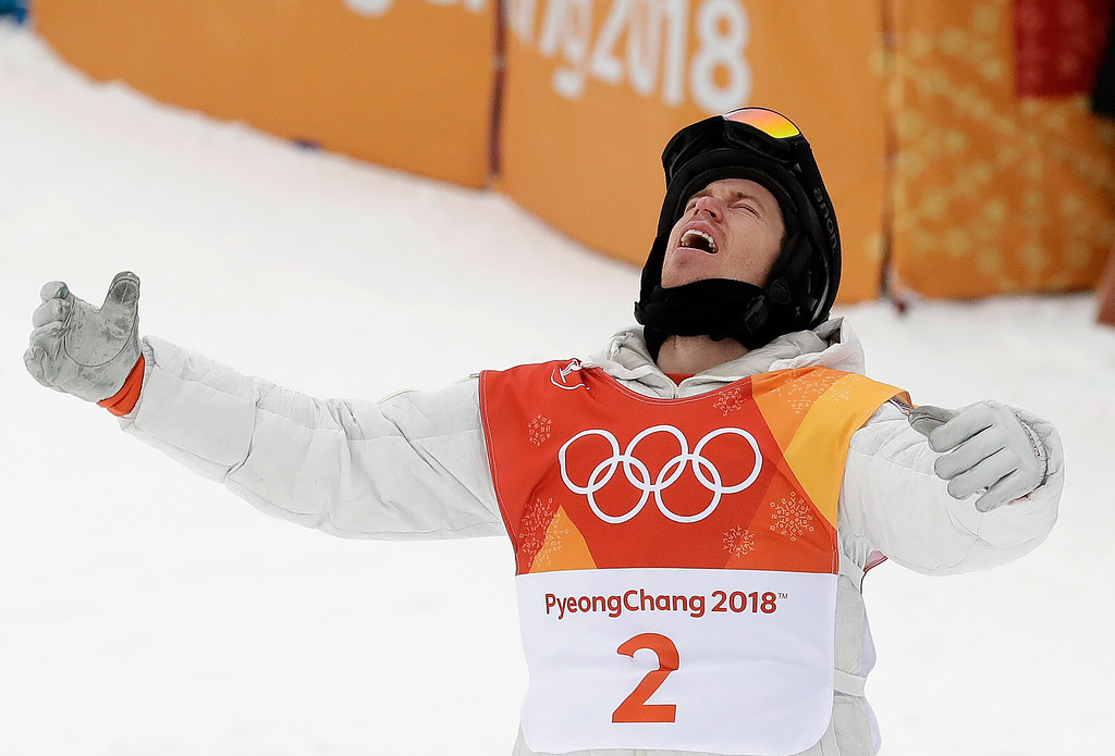 . Shaun White, of the United States, reacts to winning gold during the men\'s halfpipe finals at Phoenix Snow Park at the 2018 Winter Olympics in Pyeongchang, South Korea, Wednesday, Feb. 14, 2018. (AP Photo/Gregory Bull)
