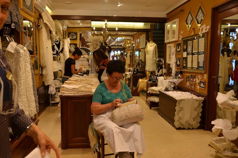 La Peral lace shop. Burano