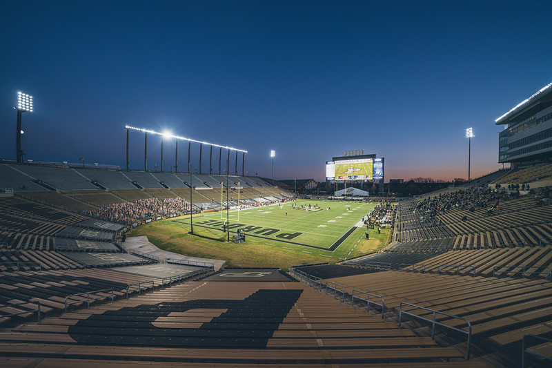 The sun sets on Ross Ade Stadium