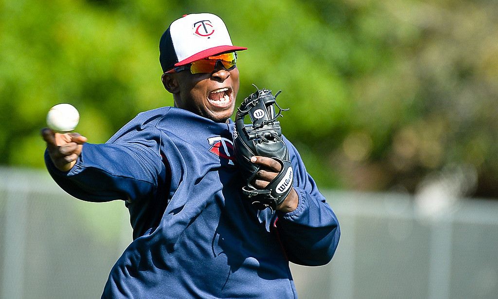 . Twins rookie infielder Miguel Sano throws with gusto to first during workouts. (Pioneer Press: Ben Garvin)