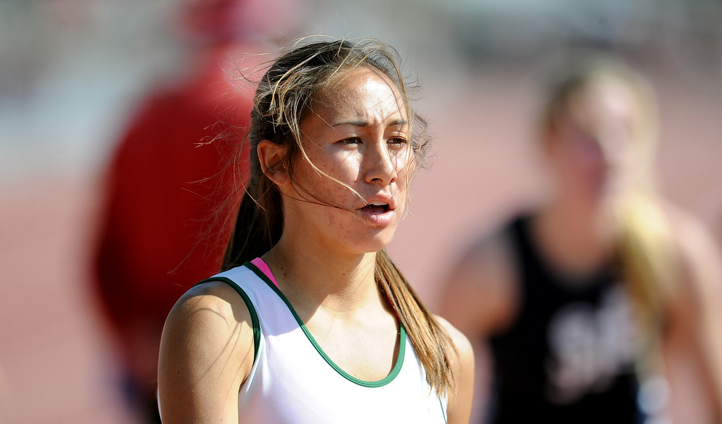 . Bonita\'s Marrisa Scott after winning the 800 meters race during the CIF-SS track & Field championship finals in Hilmer Stadium on the campus of Mt. San Antonio College on Saturday, May 18, 2013 in Walnut, Calif.  (Keith Birmingham Pasadena Star-News)
