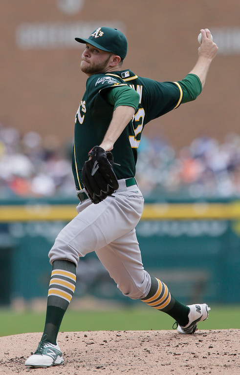 . Oakland Athletics\' Jesse Hahn pitches against the Detroit Tigers during the second inning of a baseball game at Comerica Park Thursday, June 4, 2015, in Detroit. (AP Photo/Duane Burleson)