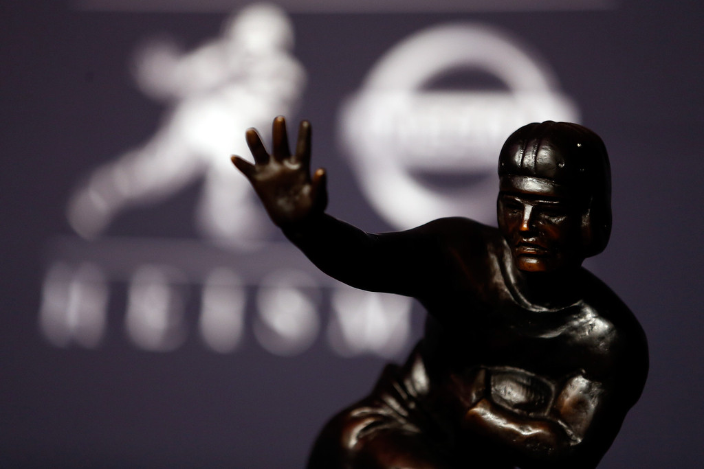 . A view of the Heisman Trophy prior to the 2013 Heisman Trophy Presentation at the Marriott Marquis on December 14, 2013 in New York City.  (Photo by Jeff Zelevansky/Getty Images)