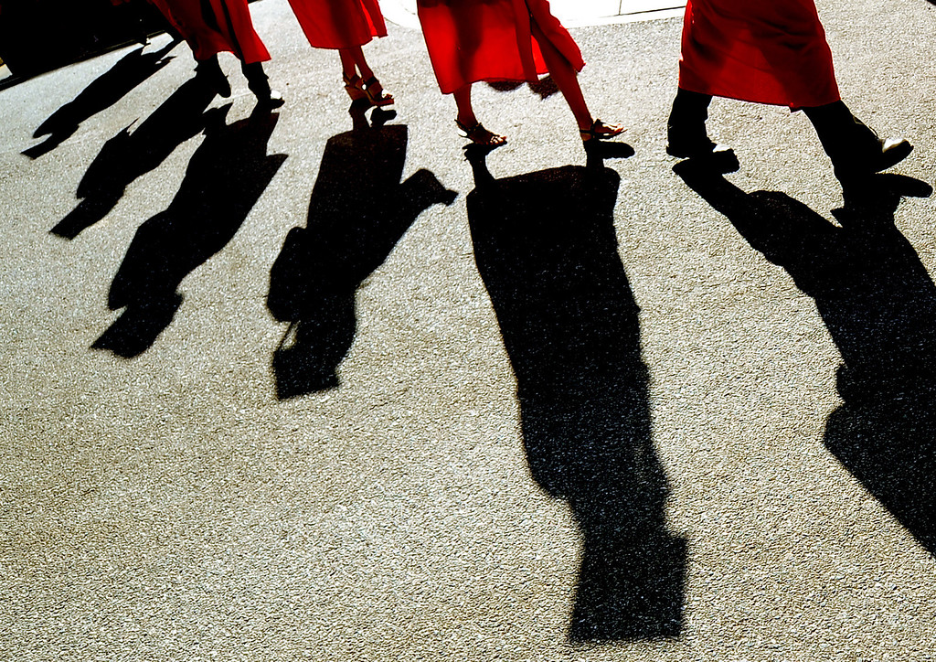 . Students walk towards their seats during the Whittier High School graduation at Whittier College in Whittier, Calif., on Wednesday, June 4, 2014.  (Keith Birmingham/Pasadena Star-News)