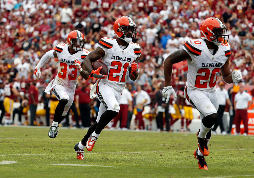 . Cleveland Browns cornerback Jamar Taylor (21) runs with his interception during the first half of an NFL football game against the Washington Redskins, Sunday, Oct. 2, 2016, in Landover, Md. (AP Photo/Carolyn Kaster)