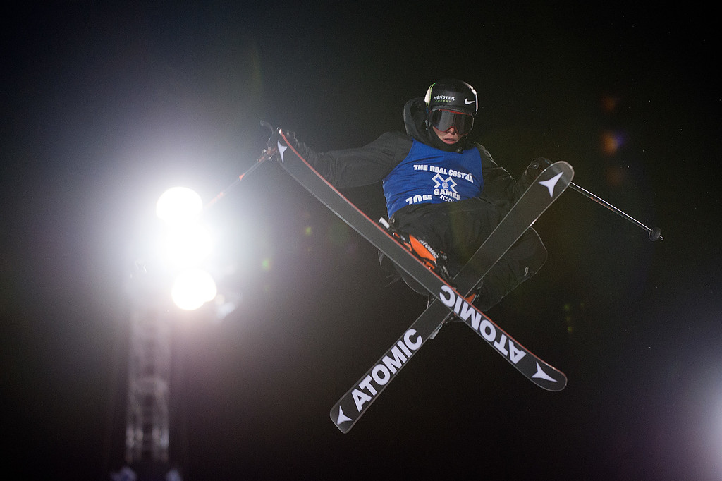 . ASPEN, CO - JANUARY 28: Gus Kenworthy of Denver competes in the men\'s ski halfpipe at Winter X Games 2016 Aspen at Buttermilk Mountain on January 28, 2016, in Aspen, Colorado. (Photo by Daniel Petty/The Denver Post)