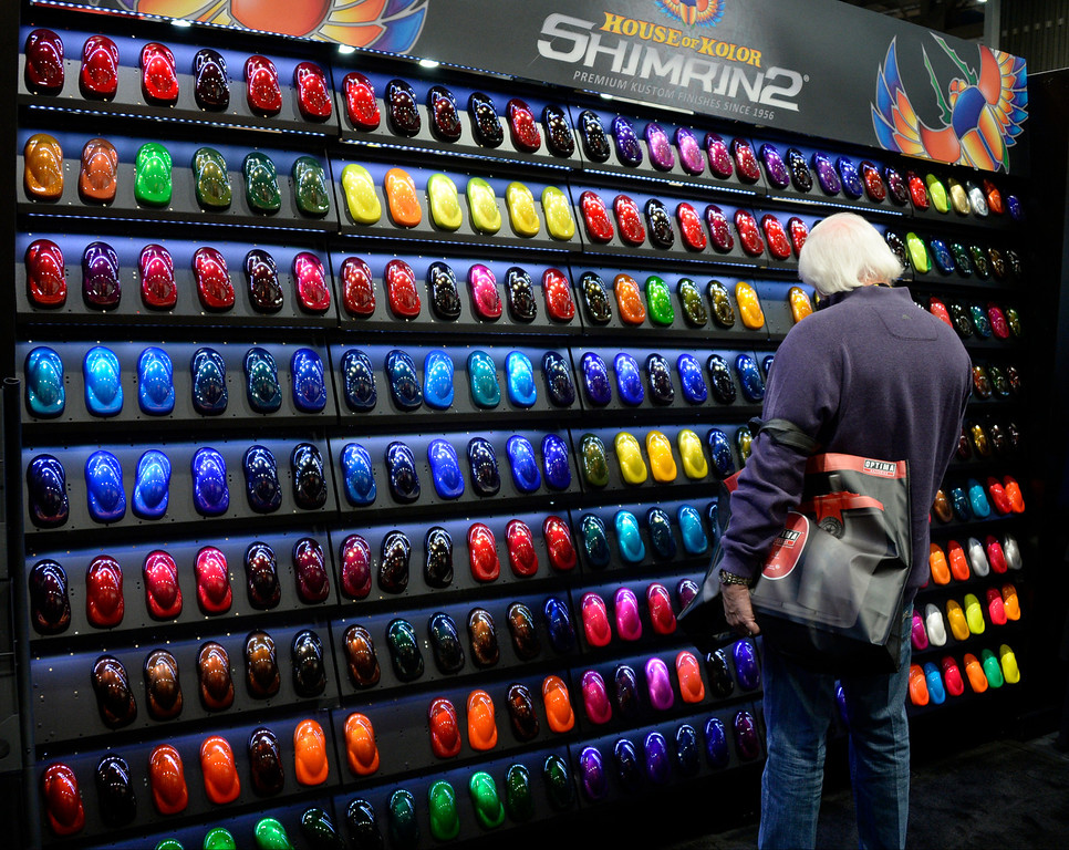 . Nov 6,2013 Las Vegas NV. USA. So many colors to choose from the Shimarin booth, during the second day of the 2013 SEMA auto show. Photo by Gene Blevins/LA Daily News