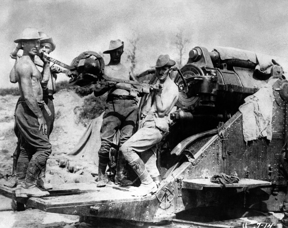 . Australian artillery operating a large caliber gun at the Somme front, France in 1916. (AP Photo)