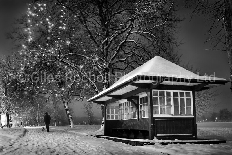 Night time snow scene West Park, Harrogate North Yorkshire.