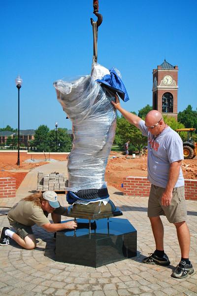 Aurora statue placed beside the Tucker Student Center at Gardner-Webb University