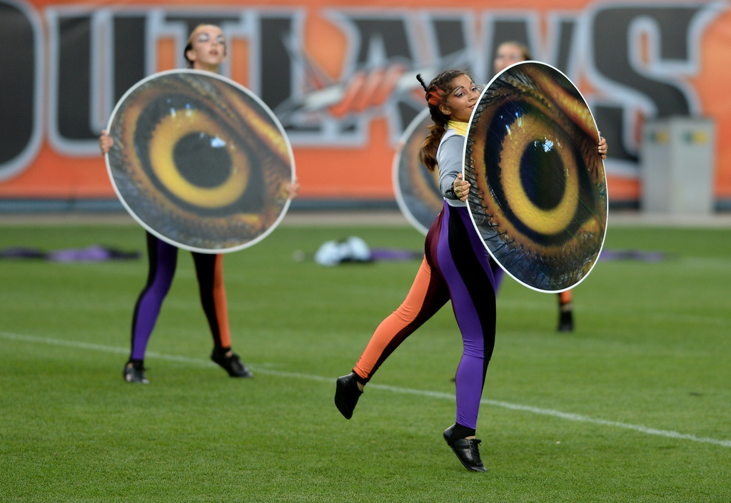. DENVER, CO - JULY 12: Dancers from the Oregon Crusaders are performing for Drums Along the Rockies in Denver, Colorado July 12, 2014. One of the Rocky Mountain region\'s most-anticipated summertime music attractions for more than 50 years returned to Sports Authority Field at Mile High. (Photo by Hyoung Chang/The Denver Post)