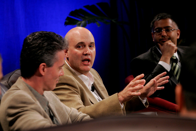 """""""The Future of Wireless: From Mobile Ads to Mobile Purchases"""": [L-R] Gary Roshak, Yahoo!; Jonathan Bulkeley, Scanbuy; and Rajeev Chand, Rutbert & Co."""